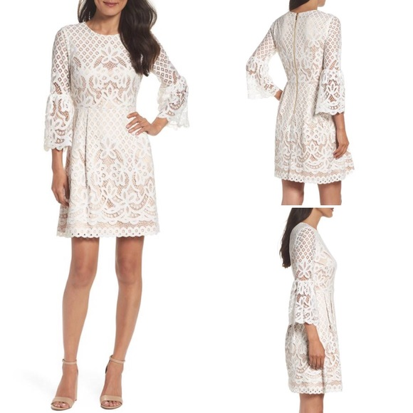 660b8073e Eliza J Dresses & Skirts - Eliza J White Lace Bell Sleeve Fit & Flare Dress
